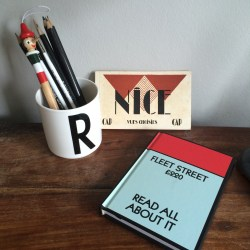 Typography Homewares Arne Jacobsen, Vintage Art Deco French Postcard Book, Monopoly Typefont Fleet Street