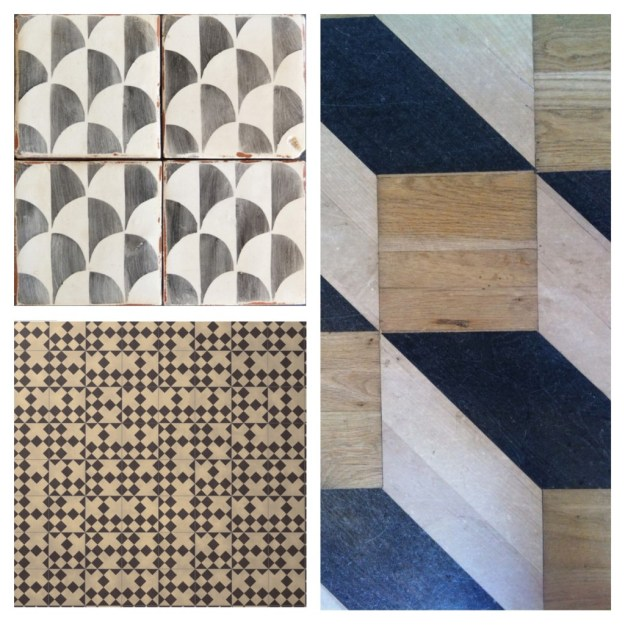 Chevron rhombus scallop domino tiling floor tiles encaustic