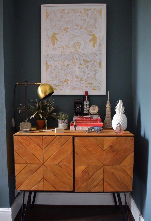 Eclectic Modern Bohemian interior decor chevron sideboard styling