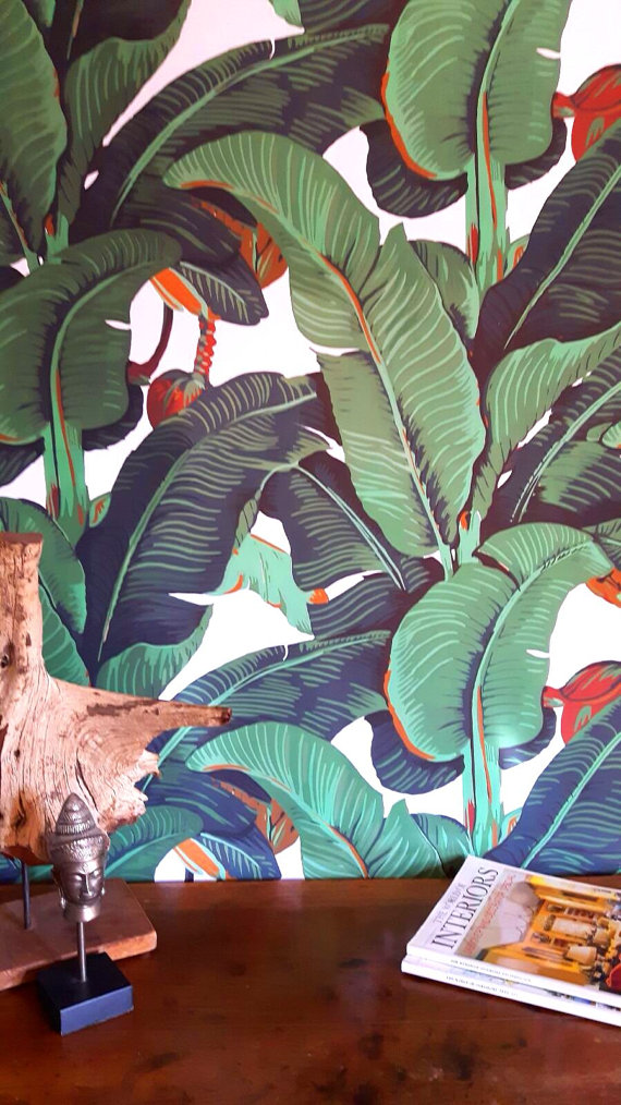 banana leaf print wallpaper tropical botanical decor
