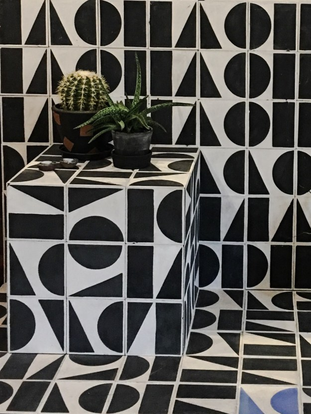 Bert and May x Darkroom collaboration, geometric monochrome tiles barge, london design festival 2016