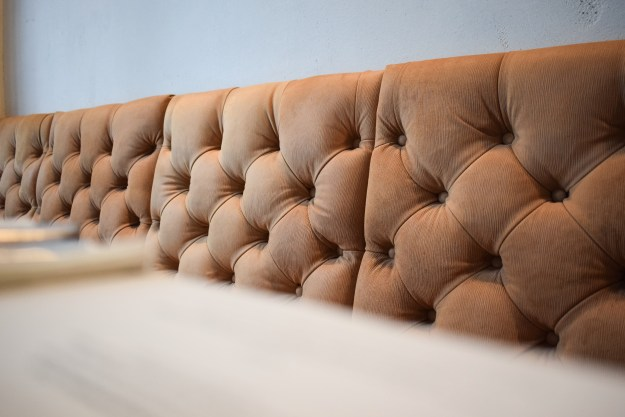 Chiswick fire station peach buttoned corduroy seating