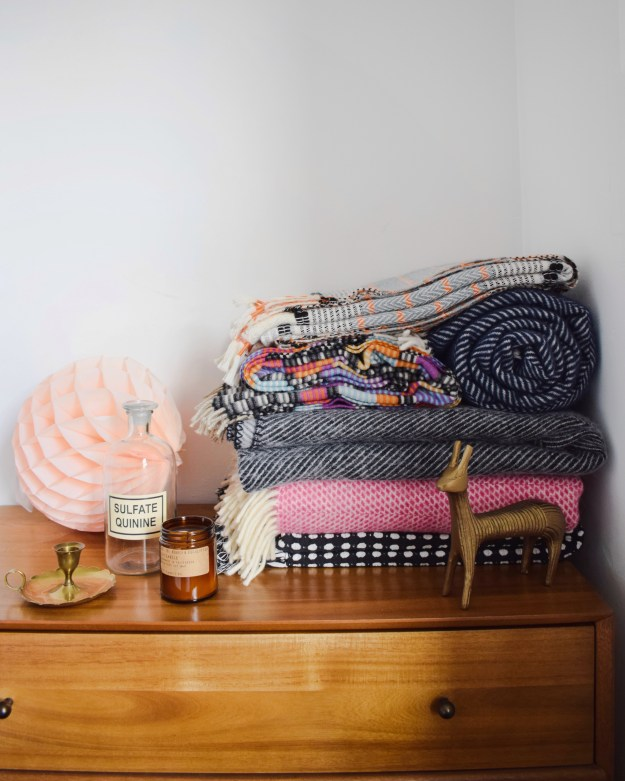 Woven knitted patterned colourful and monochrome blanket selection, bohemian modern style