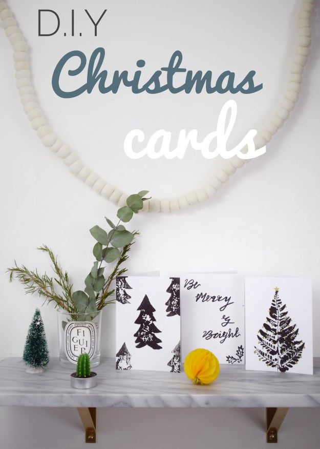Easy how to make simple monochrome Scandinavian Christmas card craft ...