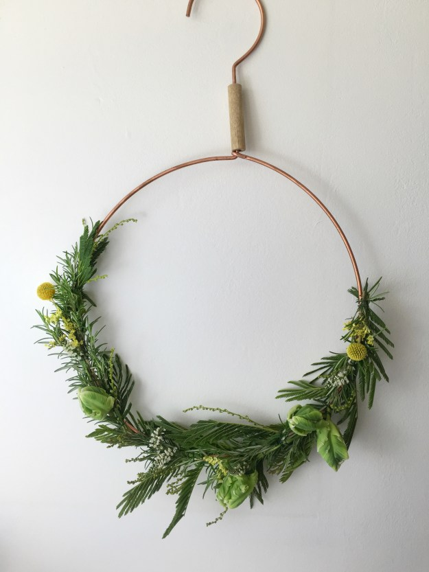 christmas craft, how to make christmas wreath, scandinavian fragrant simple rosemary mimosa decoration