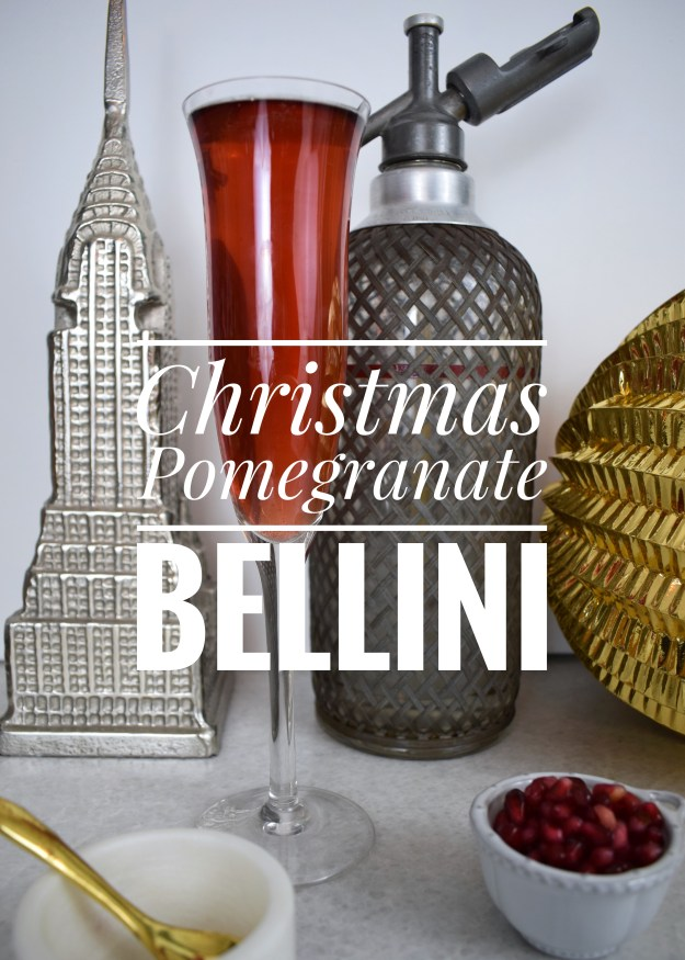 Pomegranate Bellini cocktail recipe for Christmas party ideas