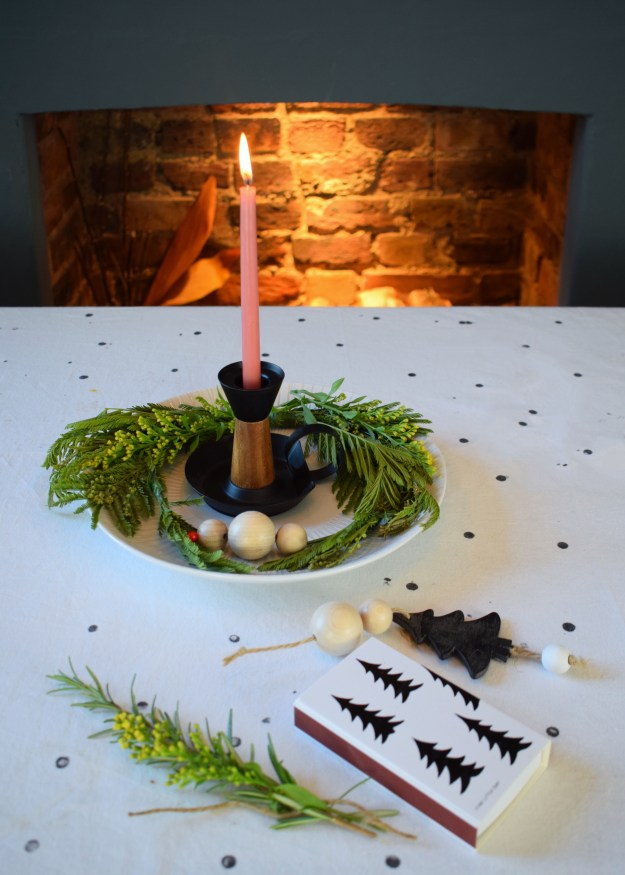 Winter dining christmas styling ideas and inspiration, simple nordic scandinavian design, d.i.y candle wreath with wood beads