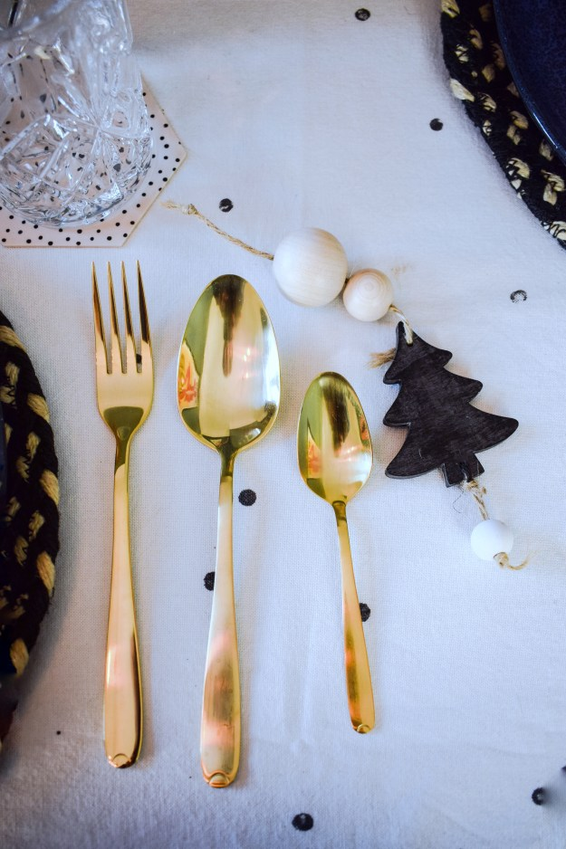 Winter dining christmas styling ideas and inspiration, simple nordic scandinavian design gold cutlery