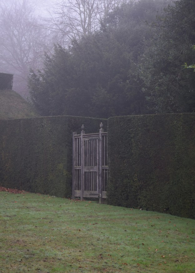 polesden lacey, surrey, in the mist, garden gate, National Trust properties tour