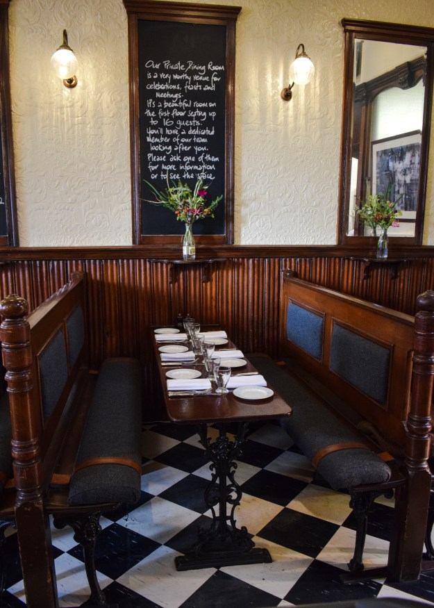 Quality Chop House London, English bistro interiors, pew benches rustic