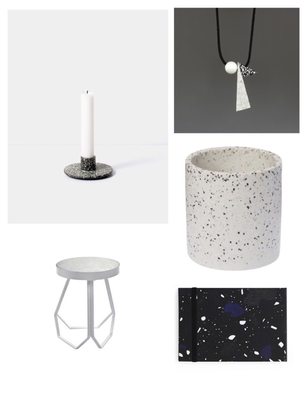 terrazzo interiors trend, uk homewares pattern where to buy decor inspiration candlestick, stool, necklace, flower pot