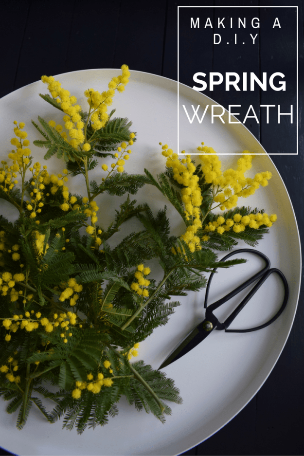 Spring easter craft how to make spring flower wreath scandinavian fragrant simple decoration mimosa tools