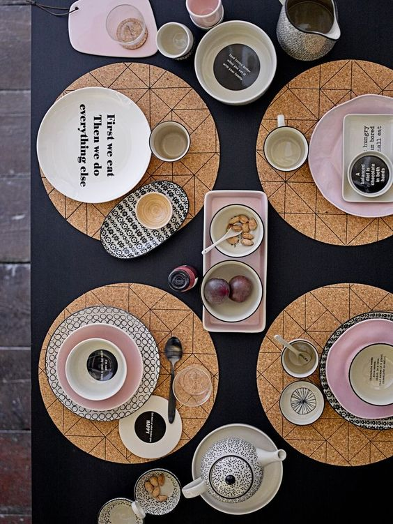bloomingville geometric cork tablemats, cork interiors trend ideas, uses and inspration in interior design and home decor