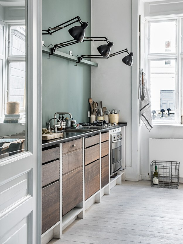 Pale Green in the kitchen of Marie from Aiayu, try Green Blue by Farrow & Ball for similar