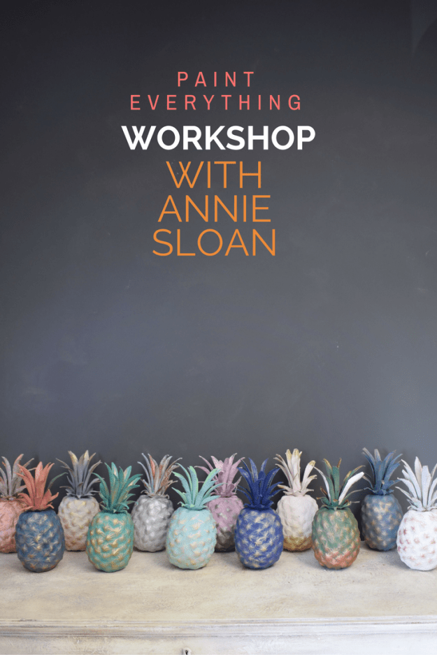 Annie Sloan paint everything bloggers workshop painted and gilded pineapples
