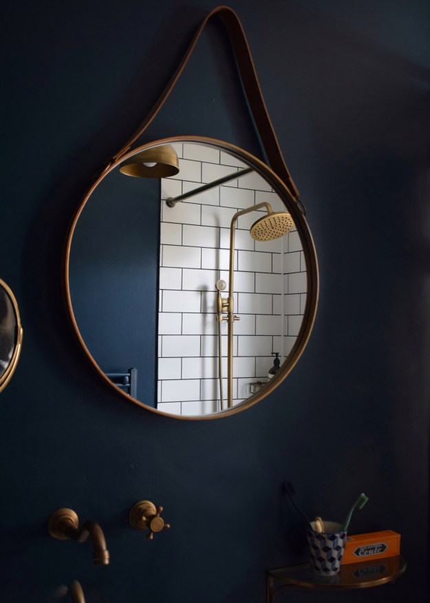 Hague blue metro tiles brass fittings bathroom