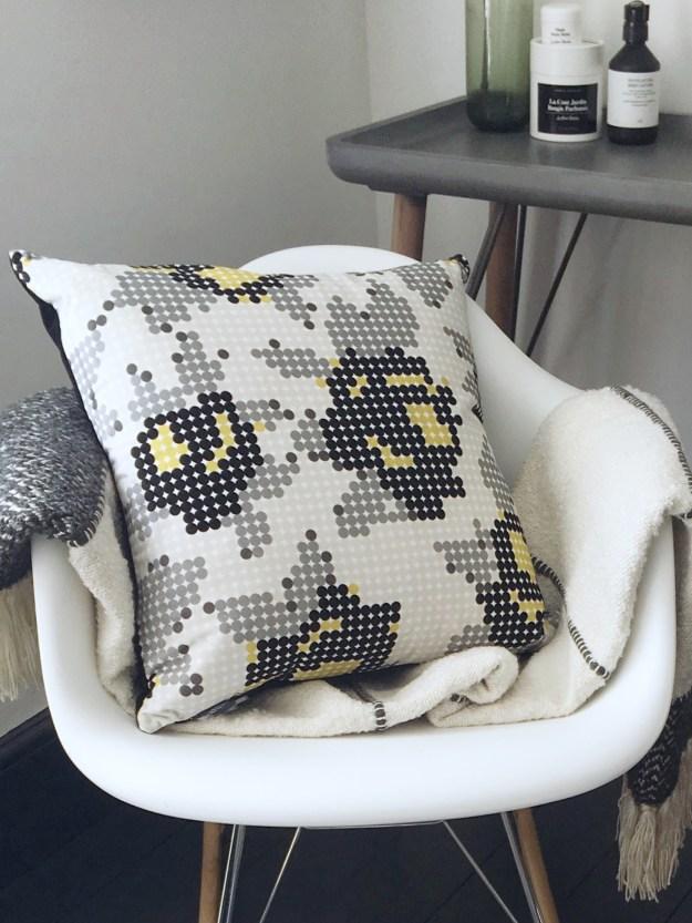 bohemian modern bedroom, summer styling, pink and green scandinavian, eley kishimoto kirkby rose dot cushion, malagoon throw 2