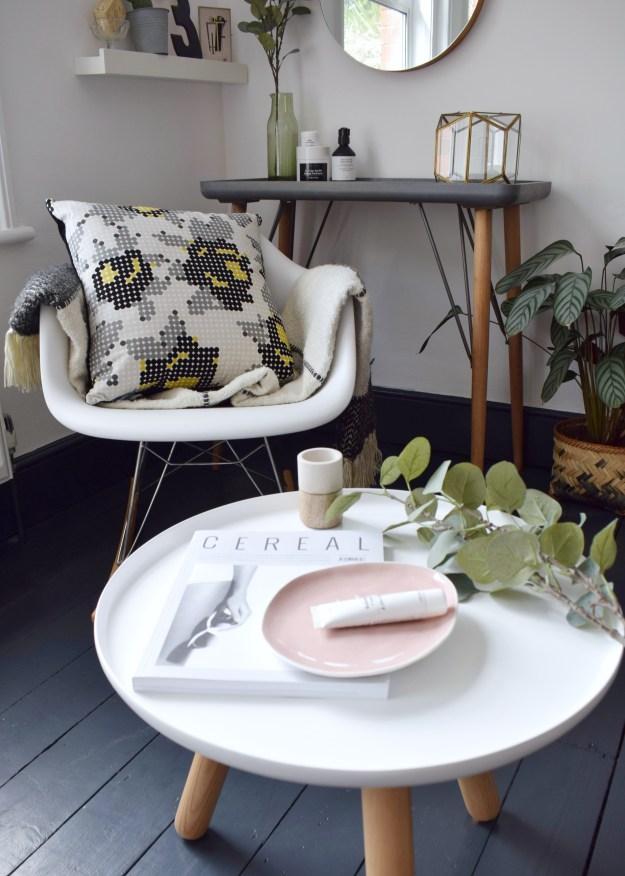 bohemian modern bedroom, summer styling, pink and green scandinavian, eley kishimoto kirkby rose dot cushion, malagoon throw