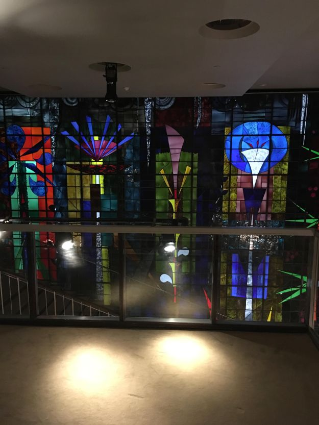 Sanderson London Design Hotel philippe starck main hallway stained glass