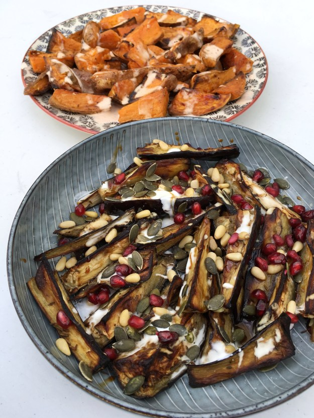 Sabrina Ghayour Aubergine and zatar sweet potatoes with harissa mayo recipe (2)