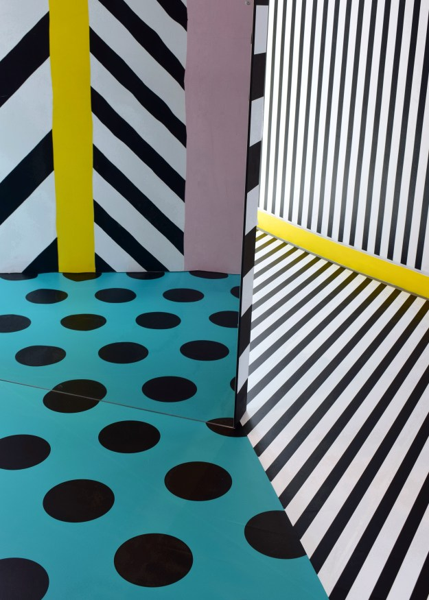 Camille Walala installation at Now Gallery, colour hunting, pattern, mark and line making, current desig