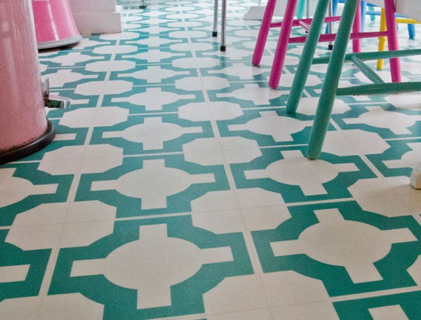 Harvey maria green-designer-vinyl-kitchen Patterned Vinyl Flooring options, ideas and inspiration for interior decor