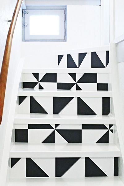 Interior Decor, ideas and inspiration for statement stairs design geometric monochrome stairs