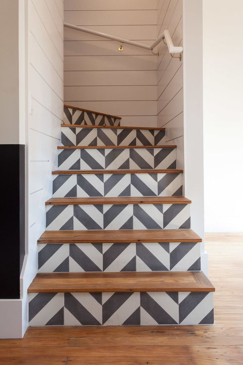 Interior Decor, ideas and inspiration for statement stairs design geometric painted stairs
