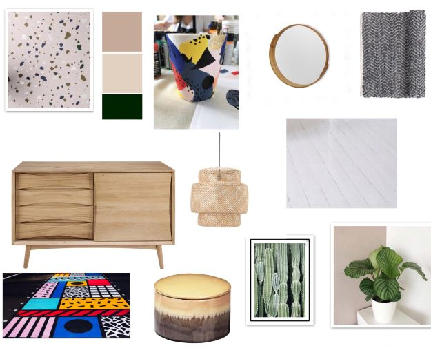 Moodboard Bohemian geometric, Scandinavian gallery wall hallway makeover project, revamp, Restyle, reveal,