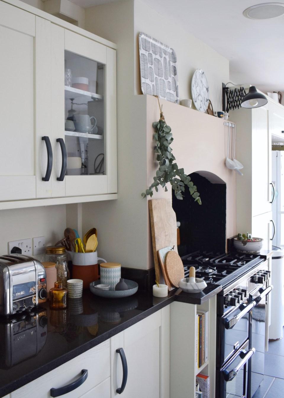 Kitchen Farrow ball slipper satin, vintage Scandinavian rustic budget kitchen refresh, artisan design and styling, eucalyptus (1)