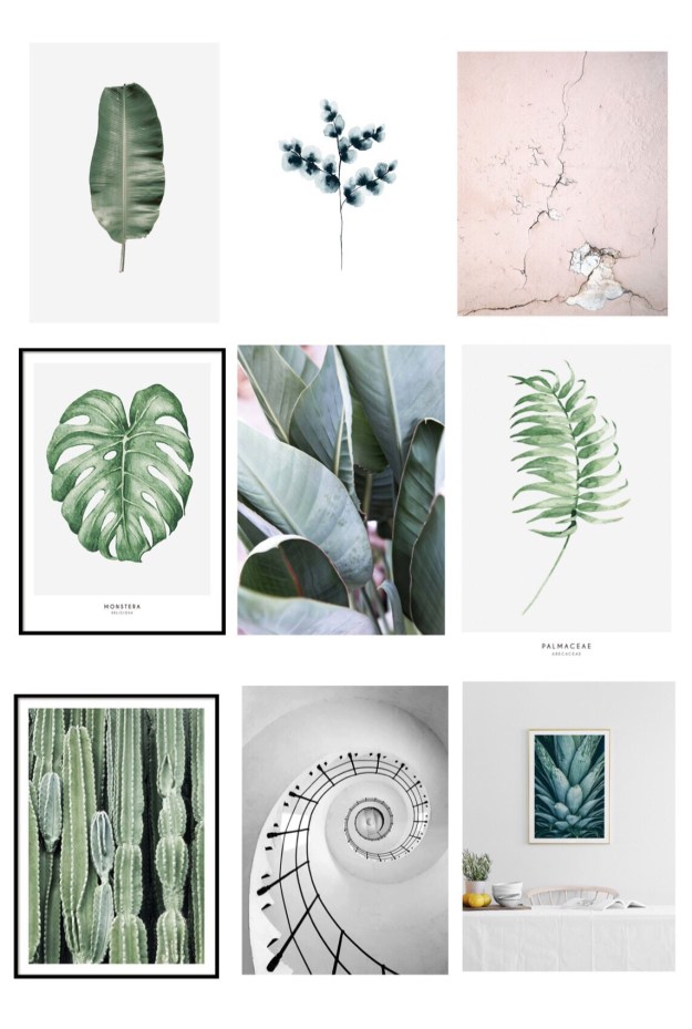 Cocktail Room Refresh Blue & Botanical gallery wall, vintage bohemian interior ideas inspiration, dark walls