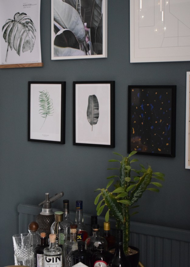 Cocktail Room Refresh Blue & Botanical gallery wall, vintage bohemian interior ideas inspiration, dark walls