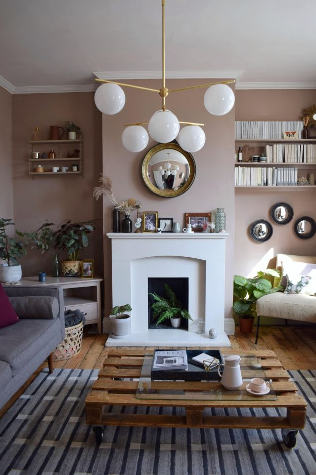 Scandinavian Living Room makeover, muted pink, neutrals, mid-century simple design, West Elm, Farrow Ball Dead Salmon, Craft luxe, interior design ideas and inspiration