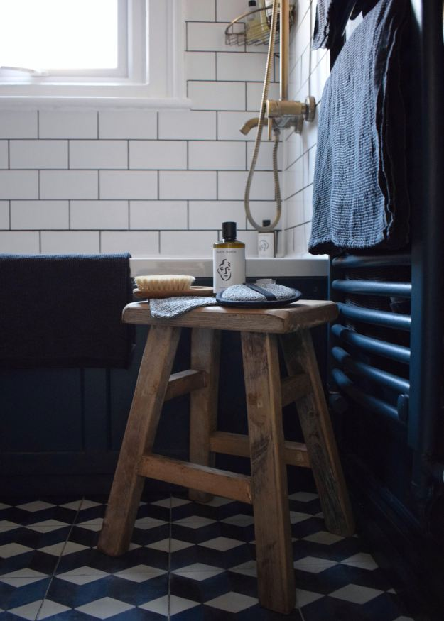 lapuan kankurit Finnish linen home textiles, brass vintage bohemian bathroom with Hague Blue Farrow Ball
