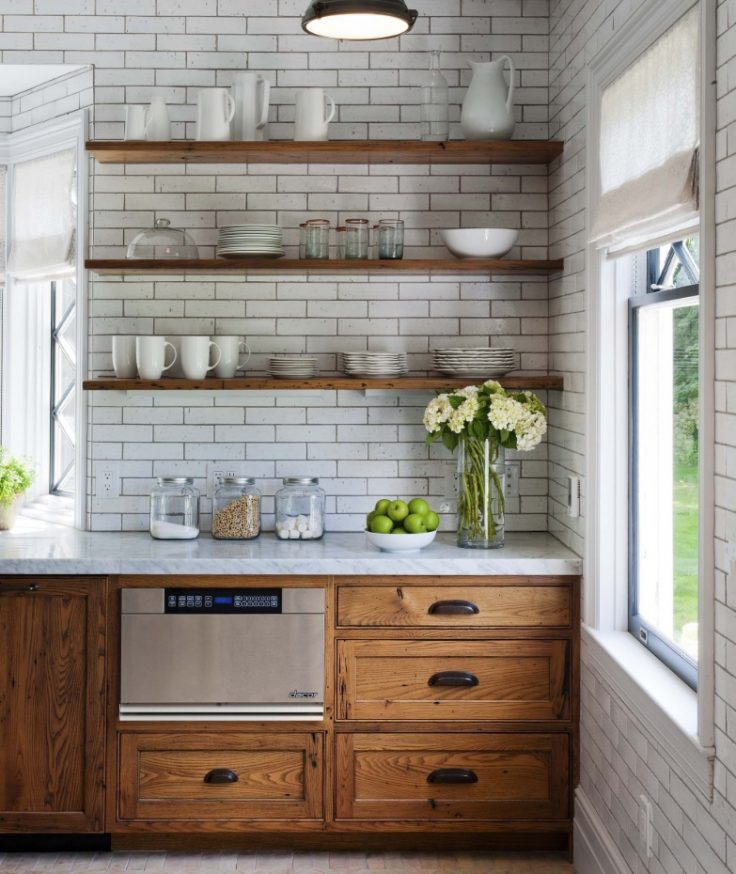 Wood-Paneled Kitchen Cabinet