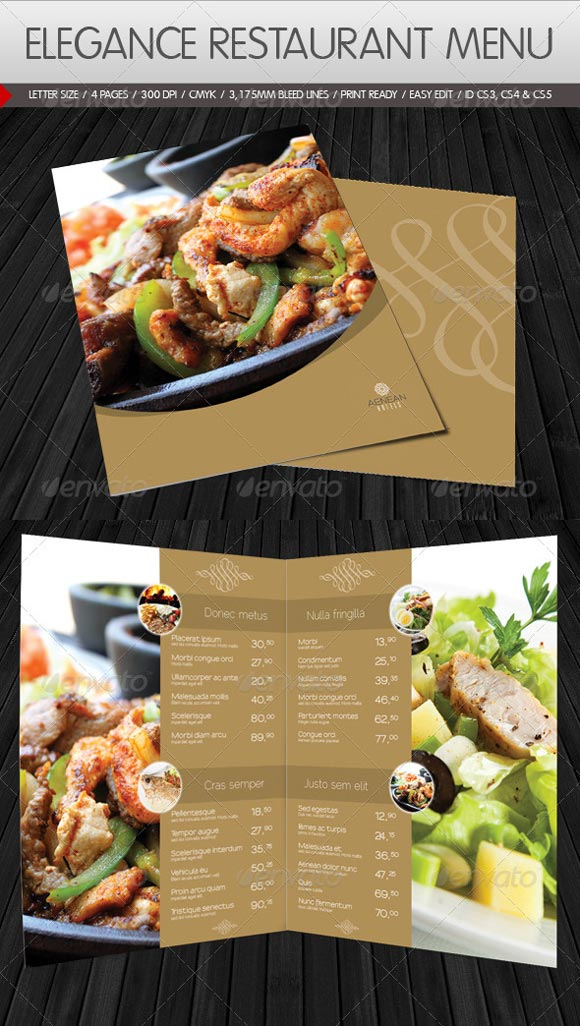menu template for hotels or restaurants