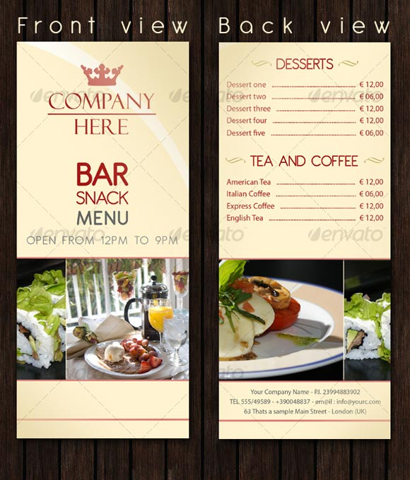 restaurant menu with prices