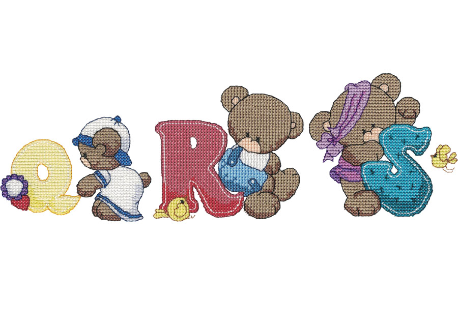 Q, R, S Bear Alphabet letters