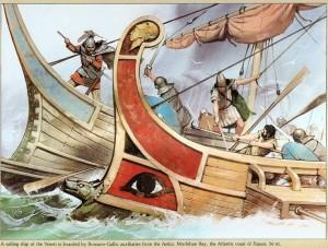 Bitwa między flotą rzymską a Wenetami zatoka Morbihan, 56 r. p.n.e.