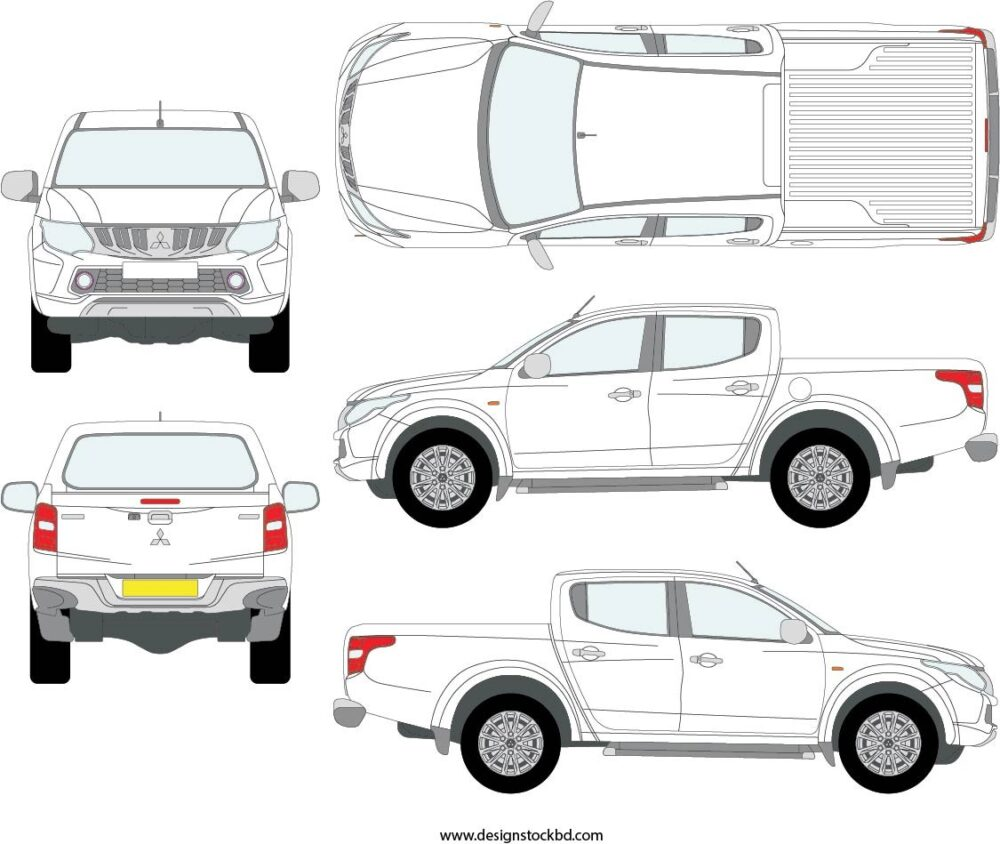 Mitsubishi Triton Double Cab Blueprint Outline