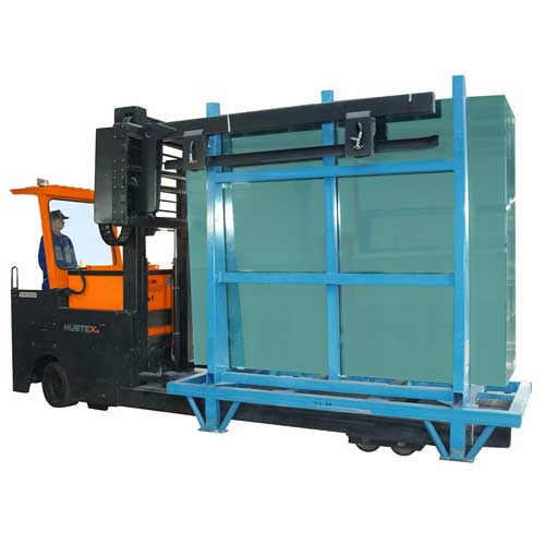 HUBTEX GTT Glass Transport System transporting an L-stillage