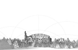 Curvilinear perspective refugee camp