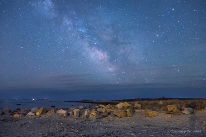The Milky Way Galaxy over Gooseberry Island in Westport, Massachusetts.