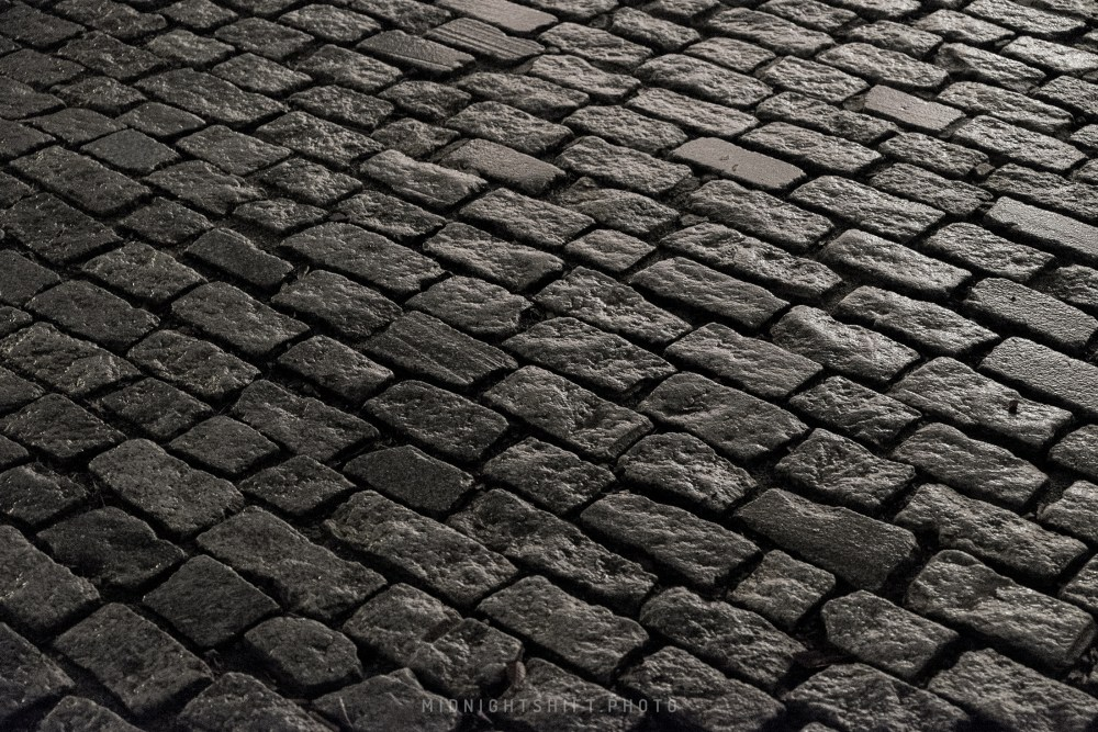 A cobblestone road in New Bedford, Massachusetts