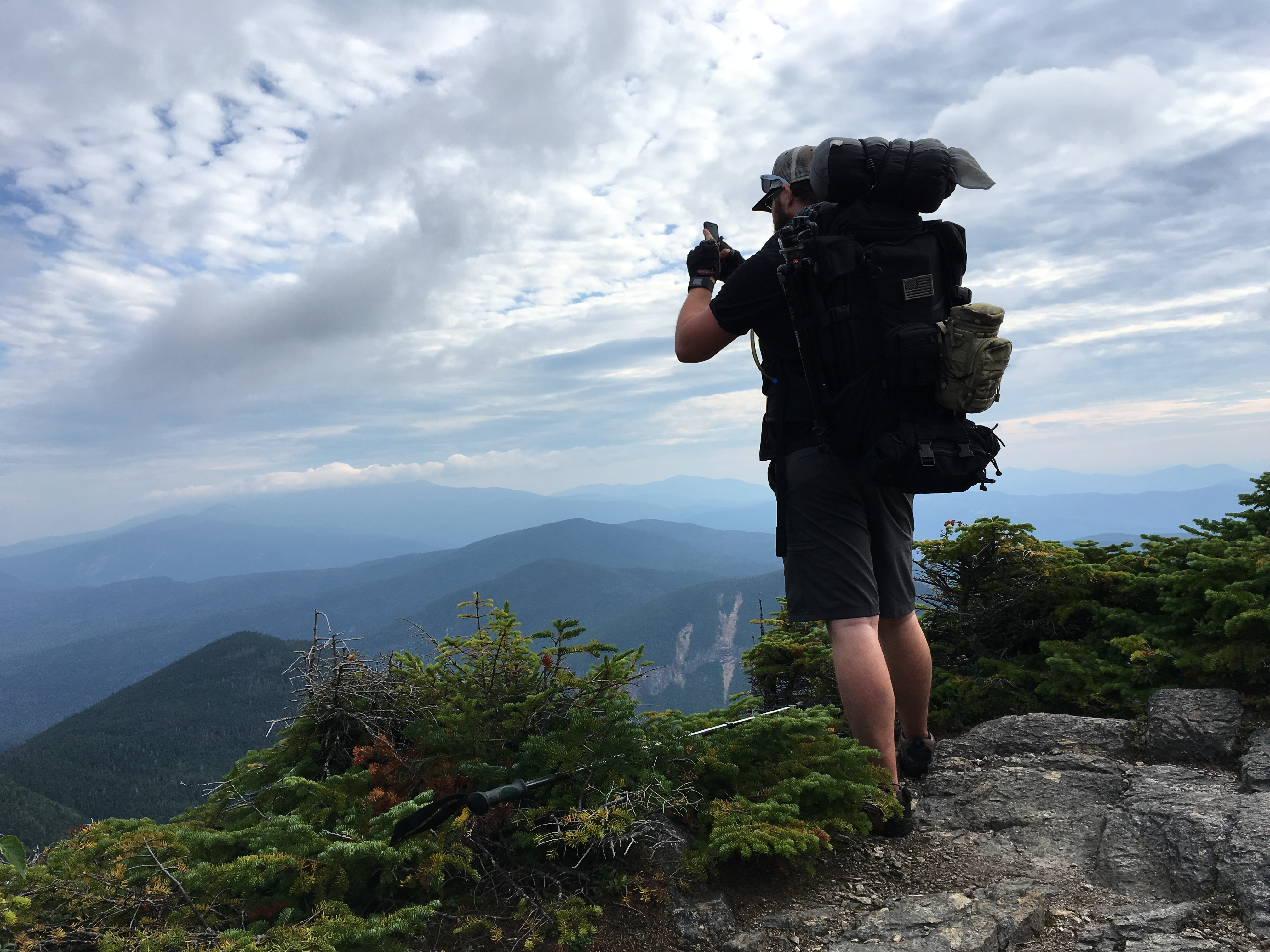 Grabbing a panoramic shot of the White Mountains on the way down. Photo by Michael Arestad.