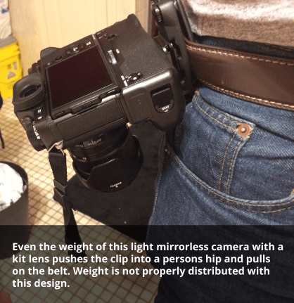 A photo of the peak design capture camera clip