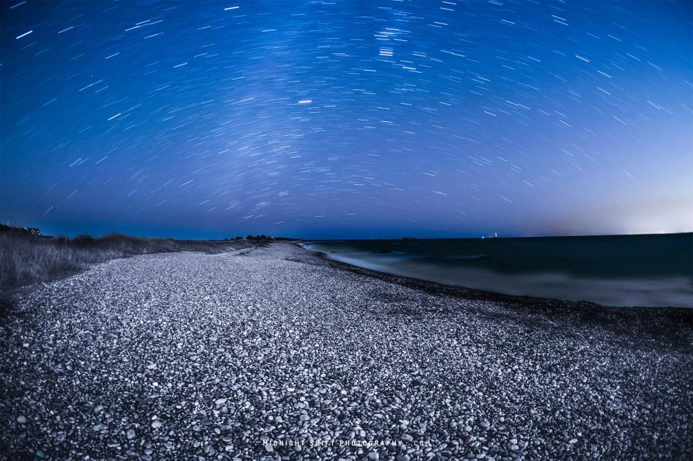 Star Trails over Sakonnet Point, in Little Compton, Rhode Island.