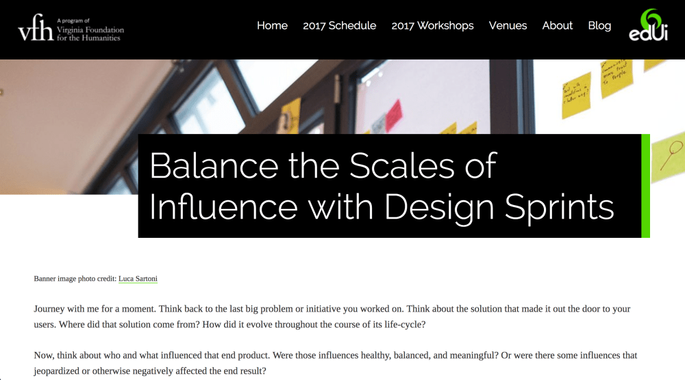 Screenshot of Mike Sheltons post on design sprints as written for Virginia Foundation for the humanities.