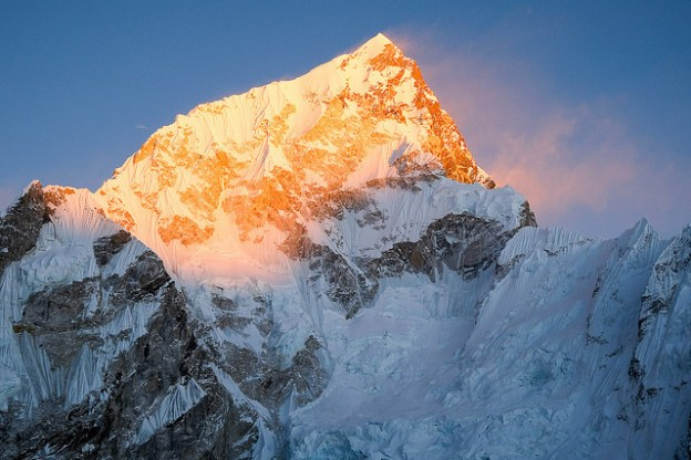 Fiery sunset on Lhotse.