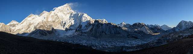 Afternoon panorama of the Khumbu Glacier.